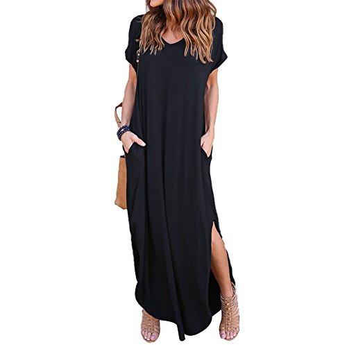 Celmia Womens Casual Dresses Side Slit V Neck Short Sleeve Solid Maxi Long Dress Black 5XL
