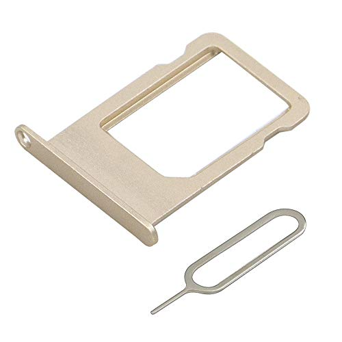 MMOBIEL SIM Card Tray Slot Compatible with iPhone 5S / SE 4.0 inch (Gold) incl Sim pin (Iphone 5s Gold Sim Slot)
