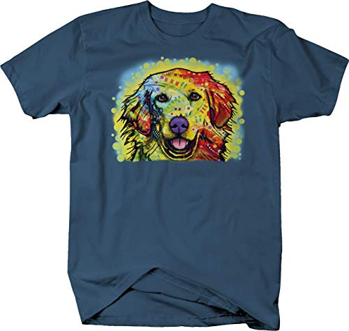 Neon Colorful Golden Retriever Dog Smilig Pet Paws Tshirt - 3XL