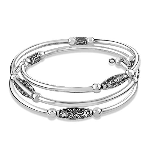 Sofia Luxe Handmade Stainless Steel and Wrap Around Memory Wire Bracelet Cuff Bangle (Silver-Plated-Stainless-Steel) (Green)