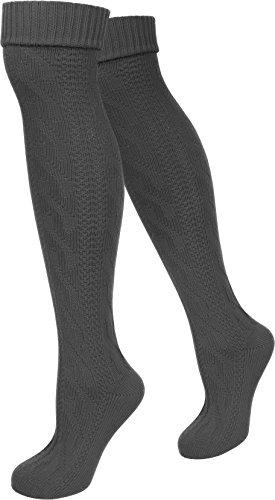 Damen Trachtensocken lange Kniestrümpfe / Oktoberfest Overknees mit Zopfmuster in verschiedenen Farben von normani® Farbe Anthrazit Größe 35/38