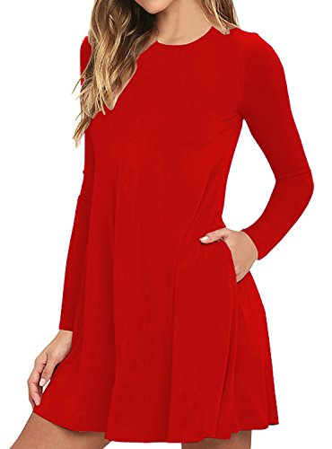 Flowy with Bestisun Women's Dress Round Sleeves T Neck Shirt Casual Red Fall Loose Pocket Cx0xPnFwRq