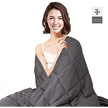 habilife Cooling Weighted Blanket 15 lbs for Adult 48''x72'',100% Natural Bamboo Viscose with Glass Beads,Heavy Blanket(Grey)