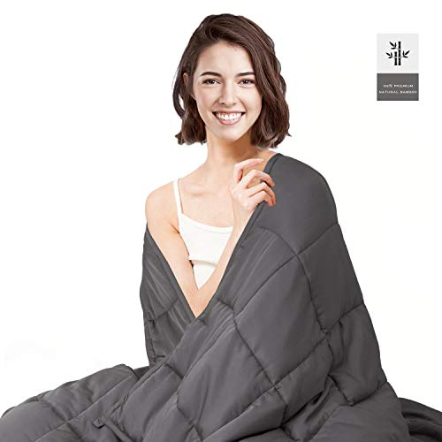 Cheap HabiLife Cooling Weighted Blanket 20 lbs for Adult 60 x80 Queen Size 100% Natural Bamboo Viscose with Glass Beads Heavy Blanket(Grey) Black Friday & Cyber Monday 2019