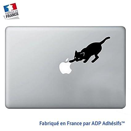 info pour 6f3fc bc243 Sticker Chat Qui Attrape la Pomme, Autocollant Noir pour Apple Macbook Pro,  Air, Mac 13