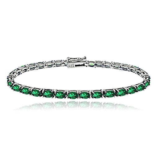Emerald 5x3mm Oval (Sterling Silver Created Emerald 5x3mm Oval Tennis Bracelet)