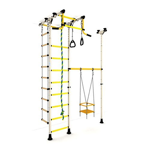 Indoor Kids Playground Play Set / White Training Gym Sport with Accessories Equipment: Swing, Climber, Rope ladder, Rope and Gymnastic Rings / Suit for Apartment, School and Playroom / Carousel R33 by sportkid