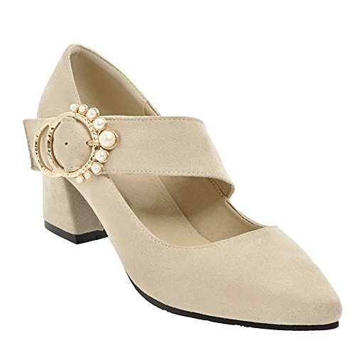 Carolbar Women's Sold Color Fashion Block Mid Heel Buckle Court Shoes Beige