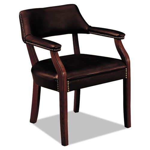 HON 6550 Series Vinyl Guest Chair with Fixed Arms, Wood Frame and Mahogany Finish, Oxblood (Mahogany Finish Wood Base)