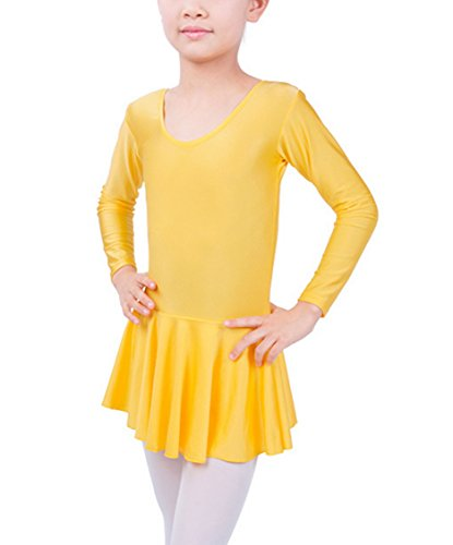Baby Girls Yellow Leotard Ballet Dance Dress Long Sleeve Costume Breathable Stretchable Skirt XXL