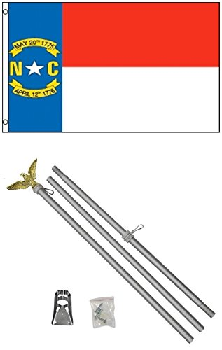 NEW 3'x5' NORTH CAROLINA State Flags Polyester w/ 6' Aluminum POLE Kits