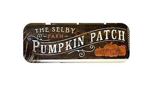 bawansign Wood Plaque Decor Pumpkin Patch Personalized Fall Themed Reclaimed Rustic Autumn Halloween Custom Sayings Hand Painted Wall Hanging Wooden Sign ()