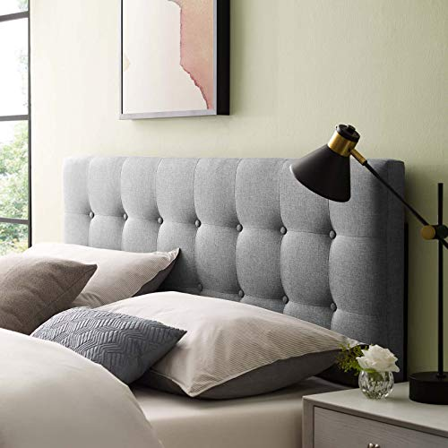 Modway Emily Tufted Button Linen Fabric Upholstered Full Headboard in Gray