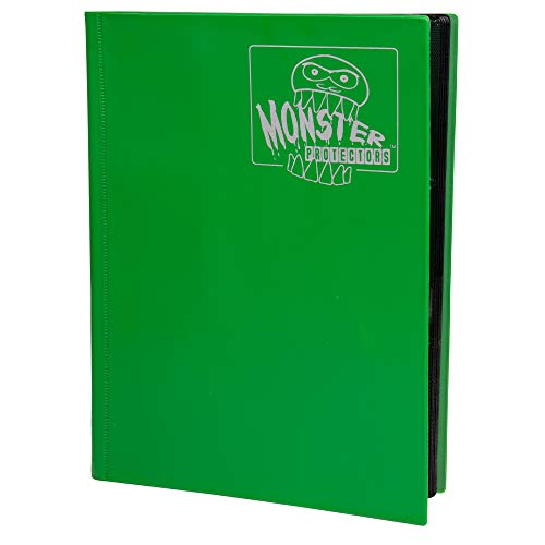 Monster Binder - 9 Pocket Trading Card Album - Matte Emerald Green (Anti-theft Pockets Hold 360+ Yugioh, Pokemon, Magic the Gathering Cards)