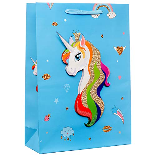 Glitter Large Blue Gift Bags for Birthdays, Baby Showers, Parties, Events (12 Pack) ()