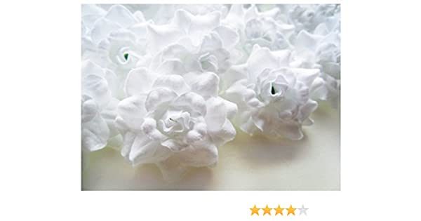 1.75 Artificial Flowers Heads Fabric Floral Supplies Wholesale Lot for Wedding Flowers Accessories Make Bridal Hair Clips Headbands Dress thaigood4you Diameter 1.75 inches Silk White Roses Flower Head 50