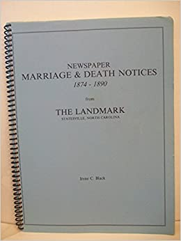 Newspaper marriage & death notices 1874-1890 from the