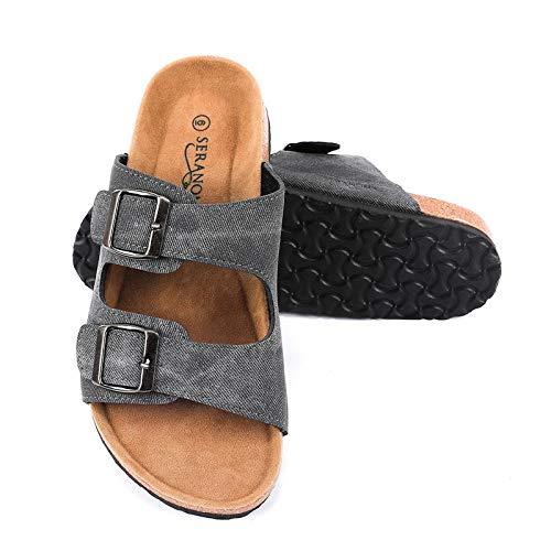 Cork Sole Sandals - Seranoma Women's Comfort Double Buckle Indoor/Outdoor Cork Sandal | Classic Comfortable Slide | Adjustable Buckles Black