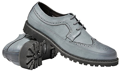 Santimon Mens Brogue Shoes Fashion Retro Wing Tip Lace Up Casual Oxford Nero Blu Grigio Blu