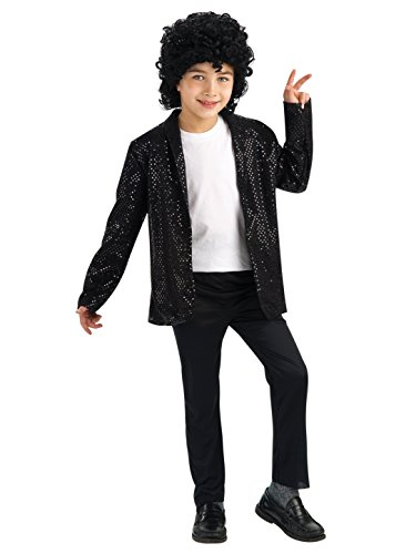 Michael Jackson Child's Deluxe Billie Jean Sequin Jacket Costume Accessory, Large