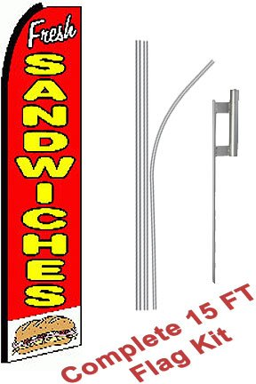 "NEOPlex - ""Fresh Sandwiches (Extra Wide)"" Complete Flag Kit - Includes 12' Swooper Feather Business Flag With 15-foot Anodized Aluminum Flagpole AND Ground Spike"