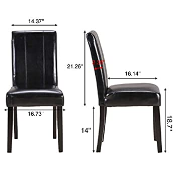 Set of 2 Kitchen Chairs Solid Wood Legs ZXBSWELE Easy-to-Clean Urban Style Dining Chair Kitchen, Living Room, Dining Room, Leatherette, Black