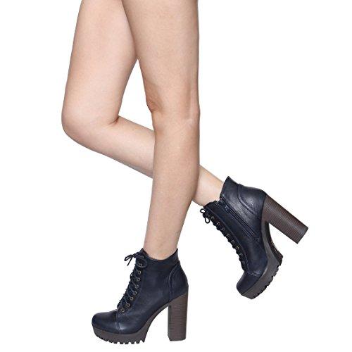 BESTON FM39 Womens Platform Lug Sole Stacked Chunky Heel Combat Booties Navy ElJngNZ