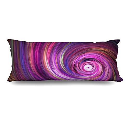 Ahawoso Body Pillows Cover 20x54 Inches Green Asymmetric Fantastic Swirl Abstract Purple Orange Curl Blue Blur Burst Colors Curve Psychedelic Decorative Zippered Pillow Case Home Decor Pillowcase