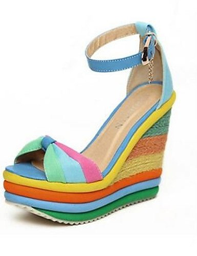 GGX/Damen Schuhe PU Sommer Heels Heels Casual geschoben Ferse andere blau/orange orange-us8 / eu39 / uk6 / cn39