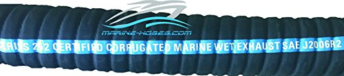 Marine Hardwall Exhaust (Marine-Hoses 1-1/2 inch ID MARINE WET EXHAUST HOSE CORRUGATED HARDWALL WIRE REINFORCED by the foot)