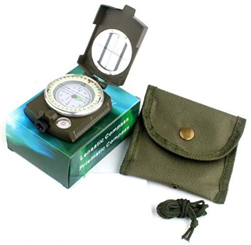 (Lensatic Prismatic Sighting Compass, Multifunctional Compass with Canvas Pouch, Shock Proof & Durable Aluminum Hiking Outdoor Scout Compass with Adjustable Diopter Lens (Army Green))