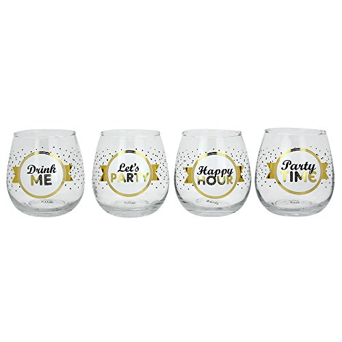 TMD Holdings Novelty Stemless Happy Hour Party Time Wine Glass (Set of 4), Clear