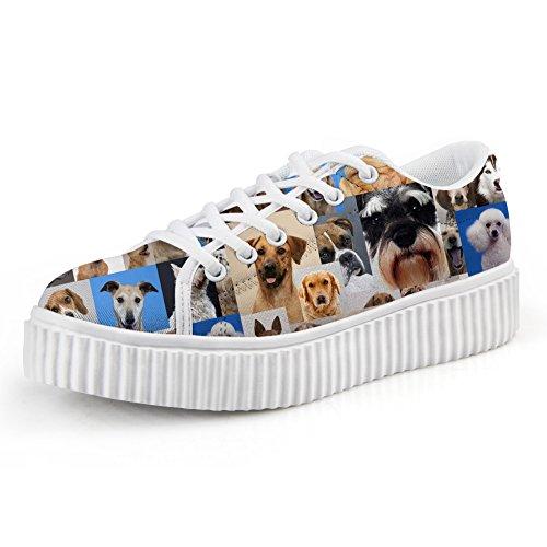 Knuffels Idee Casual Roze Dames Platform Schoenen Gesneden Hondenprint Sneakers Honden Blauw