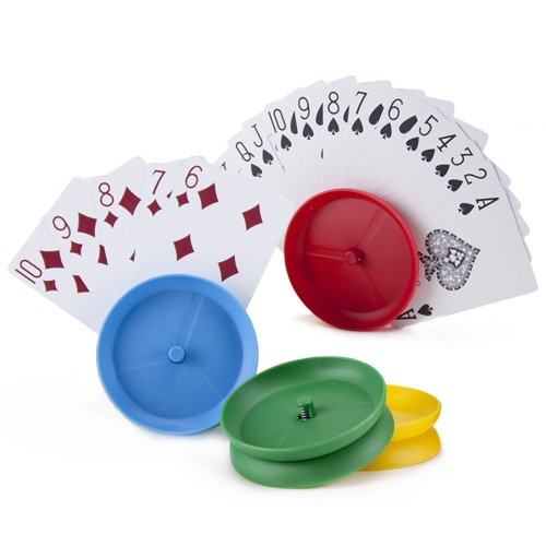 Brybelly 4-pack Card Holders for Playing Cards, Hands-free Circular-shape | Holds 10-12 Playing Cards | Plastic Adult/Childrens Accessory for Family Card Game Nights, Poker Parties, and Trading Card G
