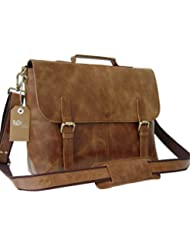 Laptop Briefcase / Messenger / Office Work Bag in Vintage Rustic Look Cow Leather by LeftOver Studio