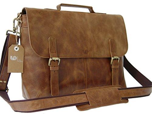 Leather Laptop Briefcase / Messenger Bag / Mens Satchel / Office Work Bag in Tan Vintage Rustic Look Cow Leather by LeftOver Studio