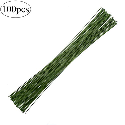 CCINEE 18 Gauge Dark Green Floral Paper Wrapped Wire 16 inch, 100/Package ()