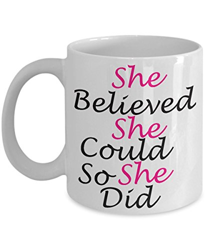 [Inspirational mug for medical students ~ she believed she could so she did - tea cup - best birthday gift for women - White 11 Oz Ceramic Coffee] (Prescription Novelty Contact Lenses)