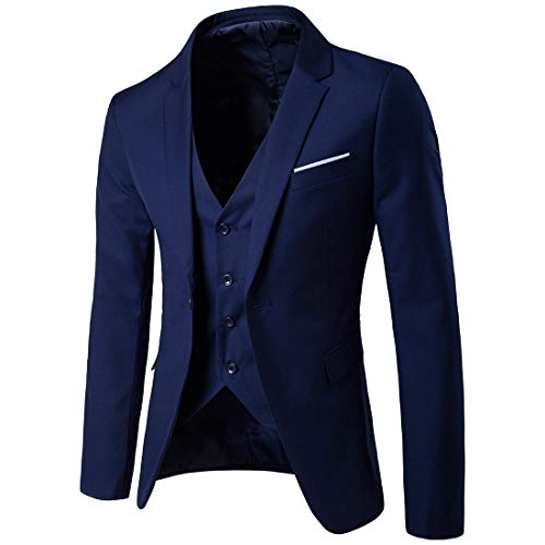 Men's Suit Slim 3-Piece Suit Blazer, Business Wedding Party Jacket Vest & Pants, Sunsee Teen 2019 New Year Navy (Bionic Mens Vest)