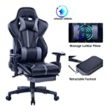 Blue Whale Gaming Chair with Adjustable Massage Lumbar Pillow,Retractable Footrest and Headrest -Racing Ergonomic High-Back PU Leather Office Computer Executive Desk Chair 8239Grey
