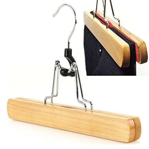 15 Stück Qualitativ Hochwertige Holz/ Klammer Kleiderbügel (Hosenspanner) - 25 cm - mit Filzeinlage - für Hosen und andere Bekleidung Hangerworld