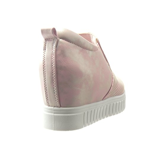 Angkorly - Scarpe da Moda Sneaker zeppe donna perforato Tacco zeppa piattaforma 6 CM - Rosa