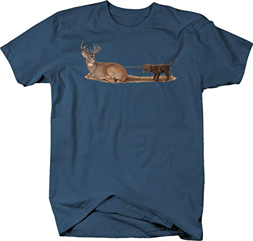 - Cute Puppy Dog Pulling Big Buck Deer with Rope Hunting Wildlife Tshirt - Large Denim