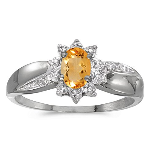 - FB Jewels 14k White Gold Genuine Birthstone Solitaire Oval Citrine And Diamond Wedding Engagement Statement Ring - Size 8.5 (0.31 Cttw.)