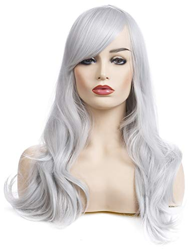 Morvally 23 inches Long Curly Wig Big Wave Heat Resistant Synthetic Hair with Bangs for Cosplay Costume Halloween Party (Silver Grey) -