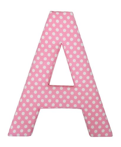 Letter D Fabric Wall Letter - Pink Polkadot - LETTER D - Polka Dot Wall Letters