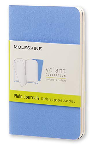 Moleskine Volant Journal, Soft Cover, XS (2.5 x 4) Plain/Blank, Powder Blue (Set of 2)