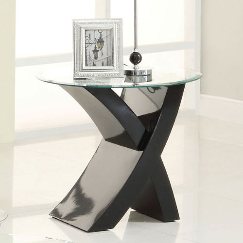 Mores Contemporary Style Black Lacquer Finish End (Contemporary Wood Finish End Table)