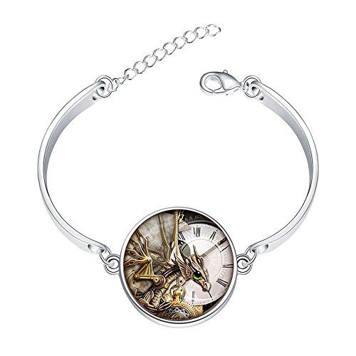 (Adjustable Sterling Silver Bracelets Steampunk Dragon Clock Alloy Bangle Custom Image Glass Cabochon Brace Lace)