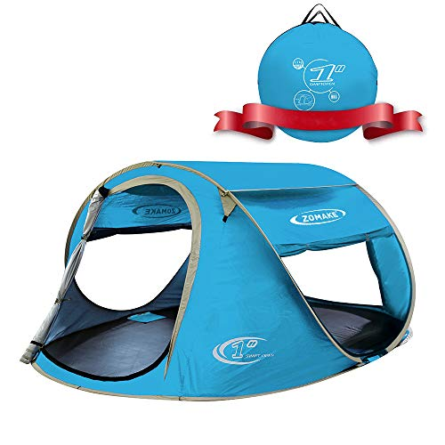 ZOMAKE Pop Up Tent 3 4 Person, Beach Tent Sun Shelter for...